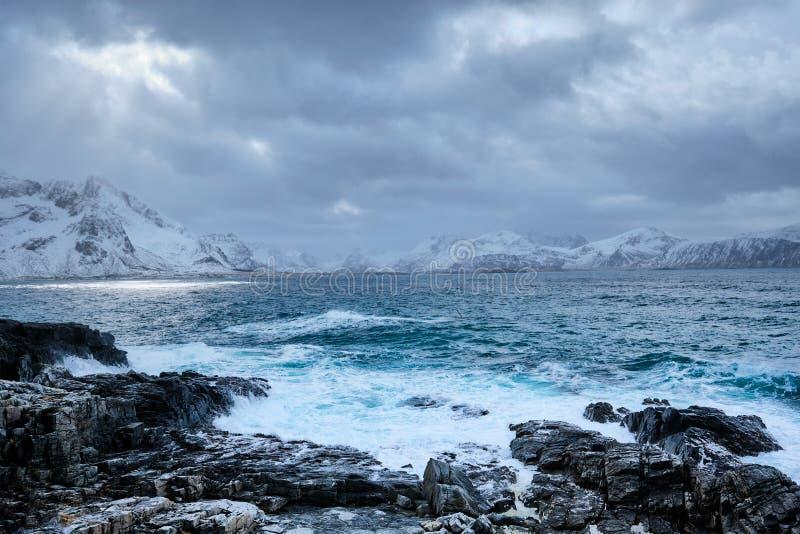 El mar noruego agita en la costa rocosa de las islas de Lofoten, Noruega fotos de archivo