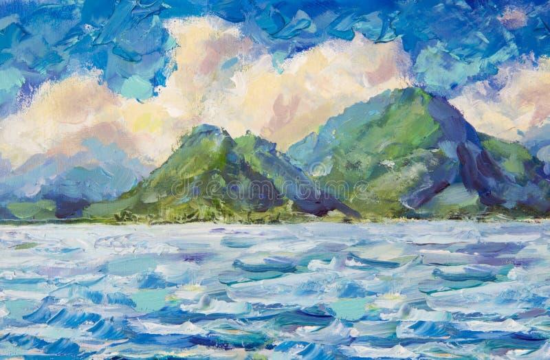El mar y el cielo azules de pintura, nubes mullidas blancas, barco en el océano, montañas, agita Un prado de la flor de flores ro foto de archivo