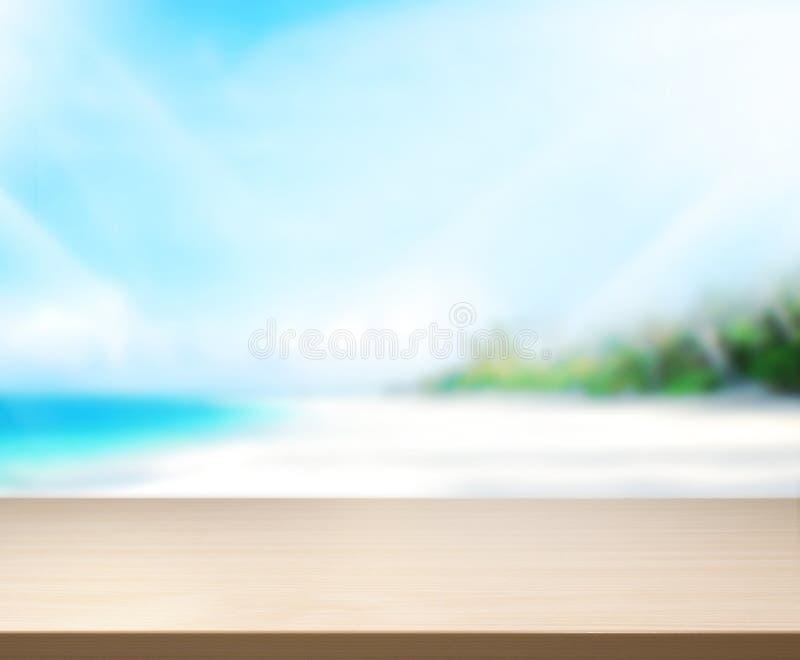 El mar y el cielo de madera 3d del fondo de la sobremesa rinden foto de archivo libre de regalías