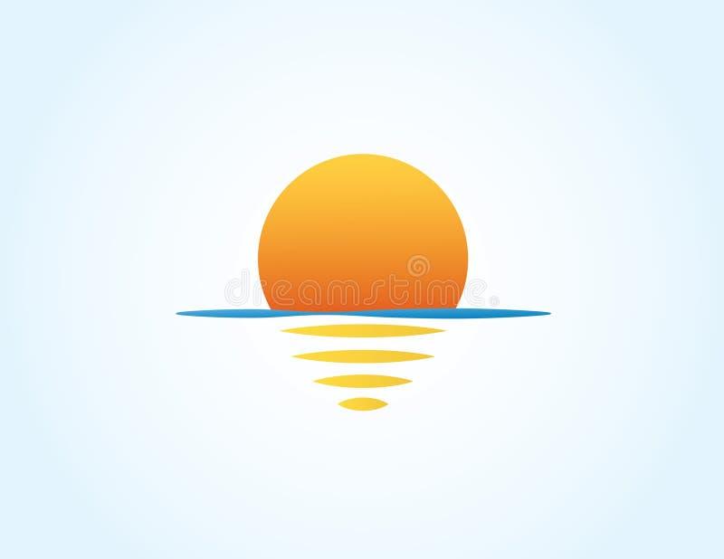 El mar y el sol con la reflexión en la superficie del logotipo colorido del océano para el ejemplo del vector de la organización  ilustración del vector