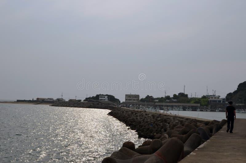 El mar y un faro y un pescador de Wakayama imagen de archivo