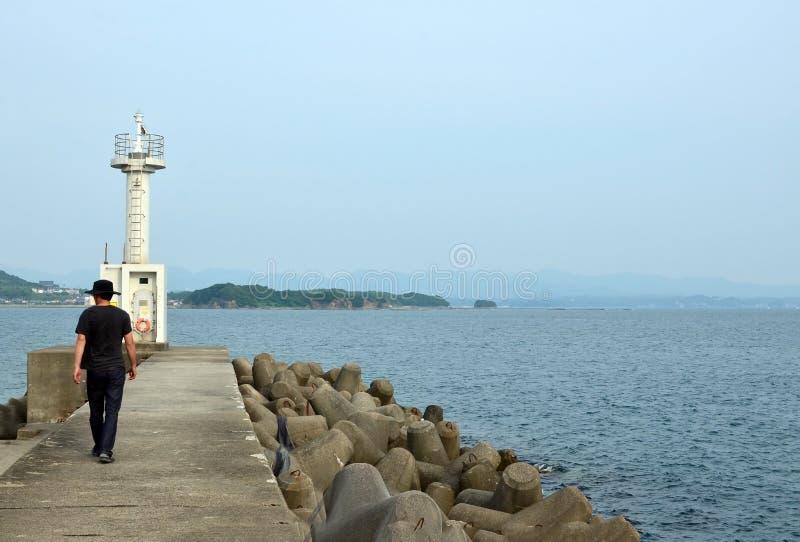 El mar y un faro y un pescador de Wakayama imagen de archivo libre de regalías