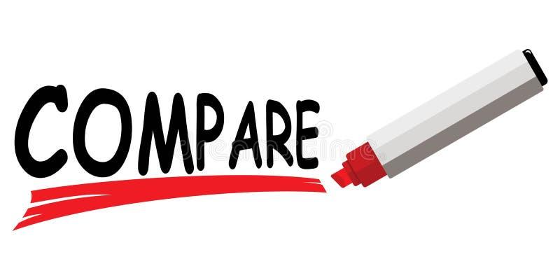 El marcador rojo que subraya palabra compara stock de ilustración