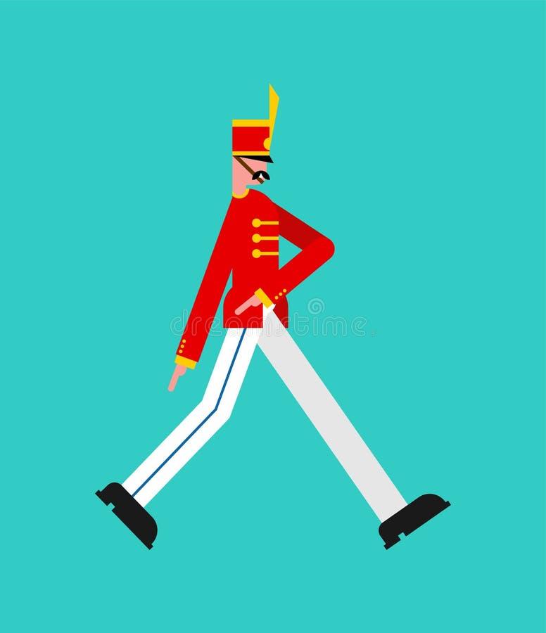 El marchar del soldado guardsman hombre alistado del guardia ilustración del vector