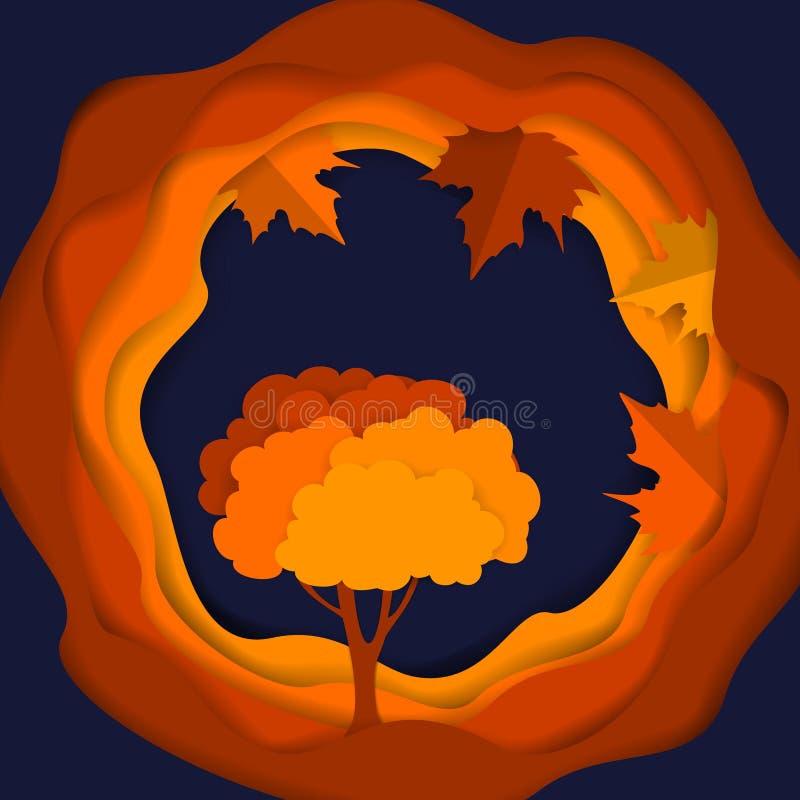El marco acodado ondulado estacional del círculo de la acción de gracias de la caída en papel digital cortó estilo con el árbol y libre illustration