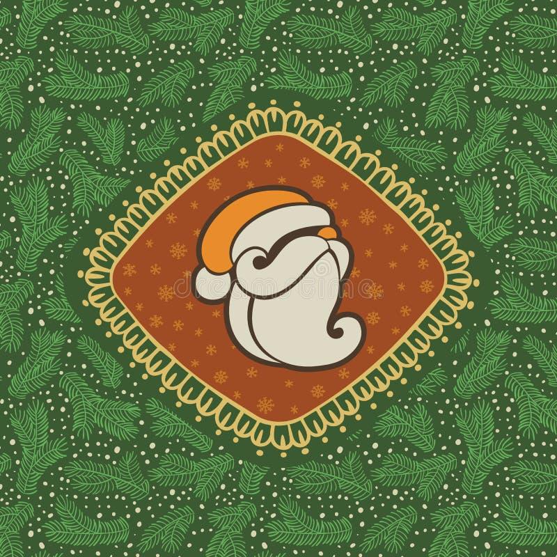 El marco adornado del vintage de la Navidad y del Año Nuevo con Santa Claus dirige símbolo stock de ilustración