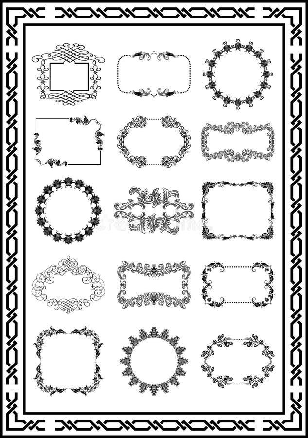 El marco agradable del vintage remolina color negro stock de ilustración