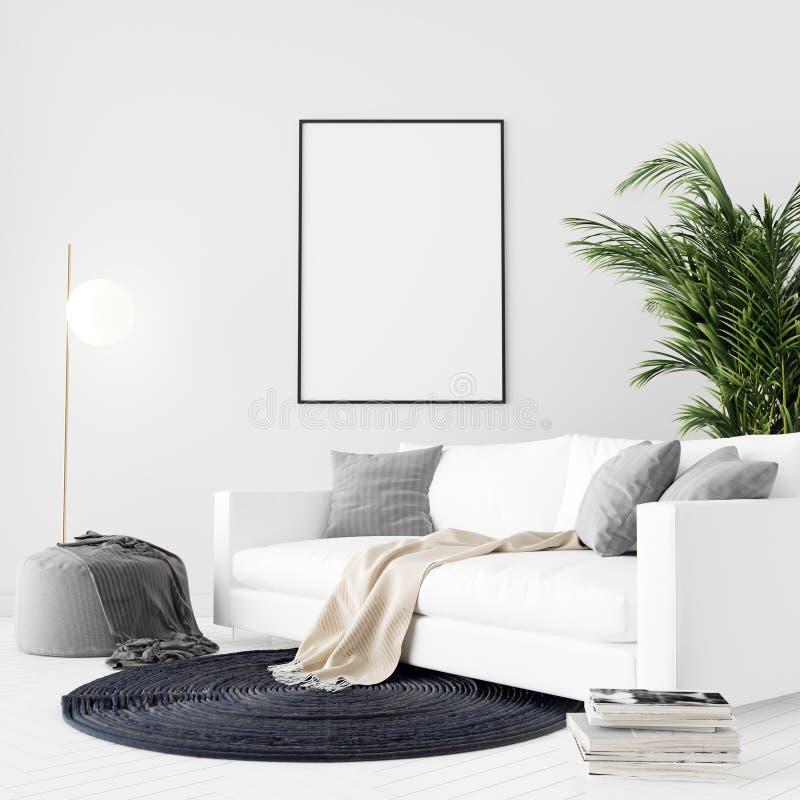 El marco ascendente falso del cartel en el fondo interior moderno, 3D rinde, el ejemplo 3D stock de ilustración
