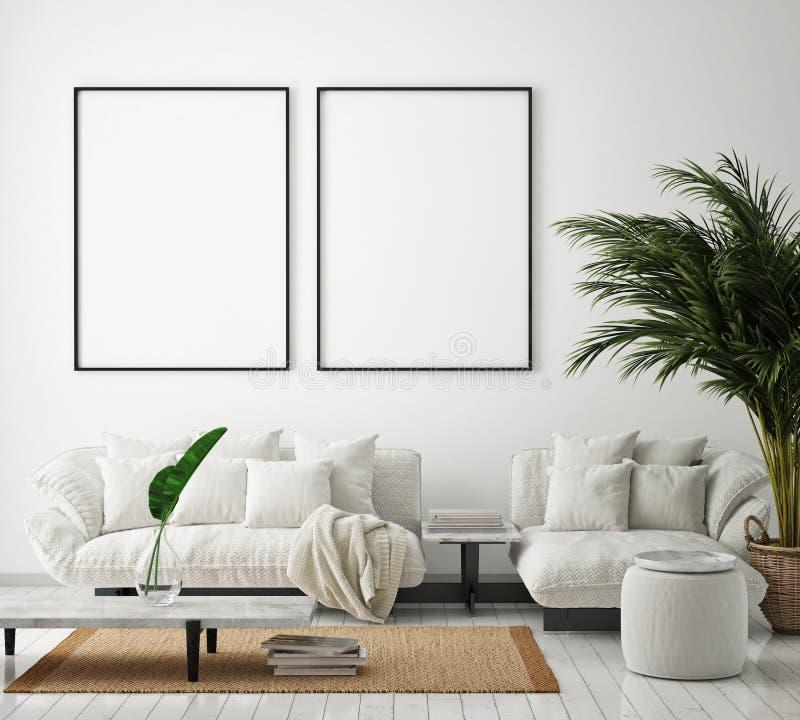 El marco ascendente falso del cartel en el fondo interior moderno, sala de estar, estilo escandinavo, 3D rinde ilustración del vector