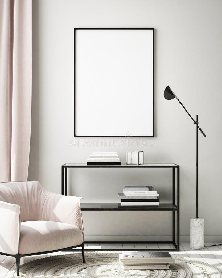 El marco ascendente falso del cartel en el fondo interior moderno, sala de estar, estilo escandinavo, 3D rinde, el ejemplo 3D stock de ilustración