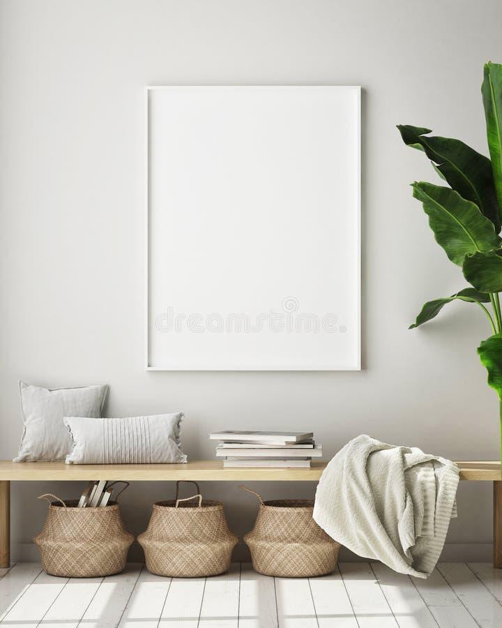 El marco ascendente falso del cartel en el fondo interior moderno, sala de estar, estilo escandinavo, 3D rinde, el ejemplo 3D libre illustration