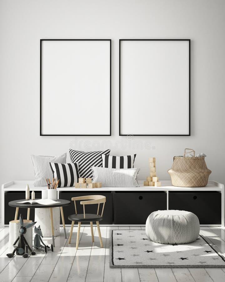 El marco ascendente falso del cartel en el fondo interior, sitio de los niños, estilo escandinavo, 3D rinde, el ejemplo 3D ilustración del vector