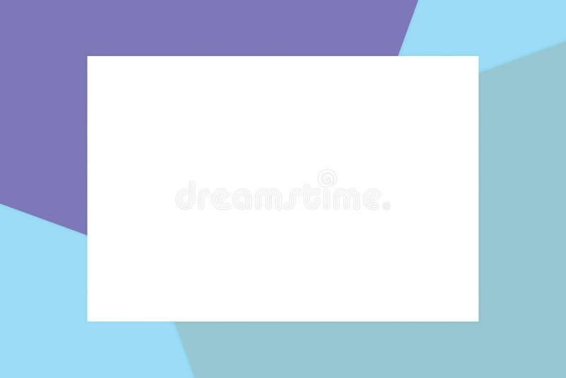 El marco blanco del rectángulo en los cosméticos de papel suaves en colores pastel coloridos del fondo para la copia espacia el m stock de ilustración