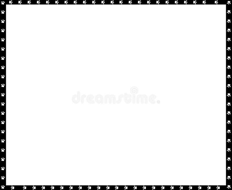 El marco blanco y negro del rectángulo del vector hecho de impresiones de la pata del perro copia el espacio libre illustration