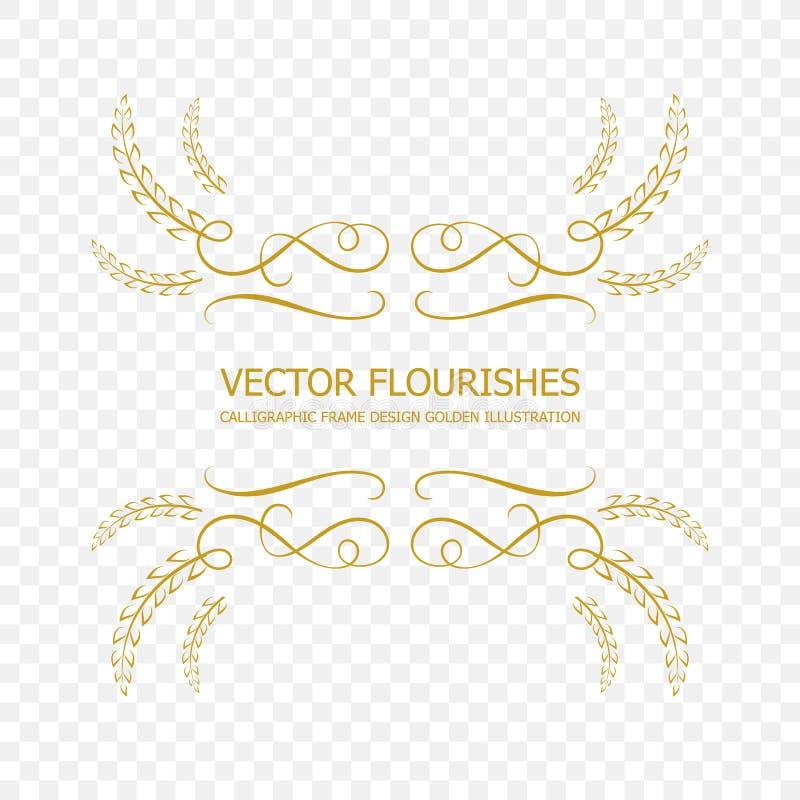 El marco caligráfico de oro del vector, aislado prosperan el elemento del diseño, la frontera ornamental stock de ilustración