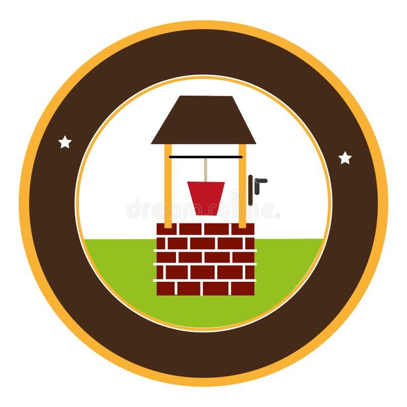 El marco circular con el pozo de madera y el cubo riegan stock de ilustración