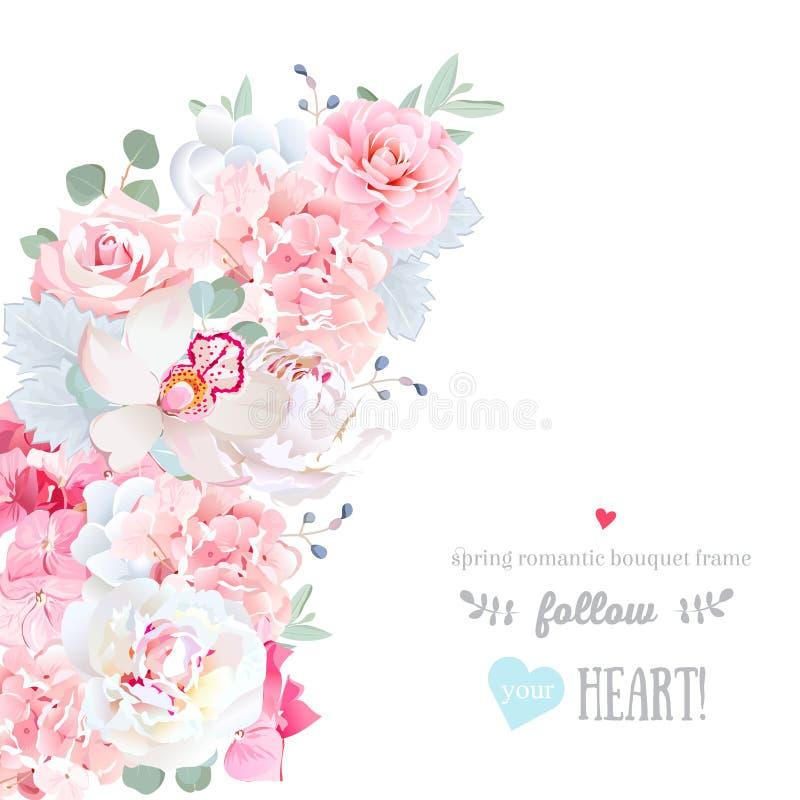 El marco creciente floral lindo del vector de la forma con la boda blanca florece libre illustration