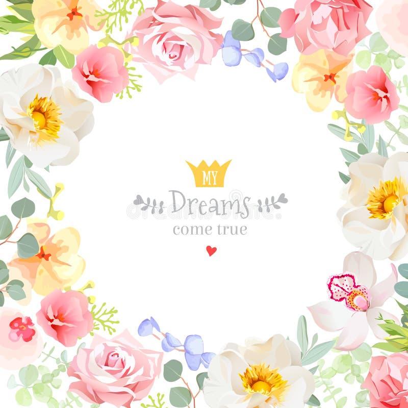 El marco cuadrado del diseño del vector con salvaje subió, orquídea, clavel, flores rosadas libre illustration