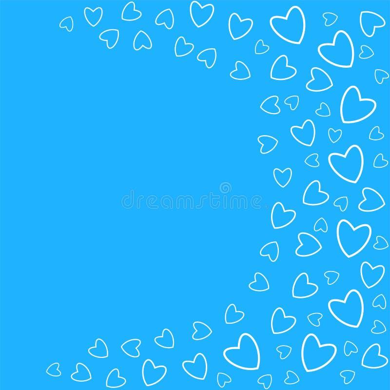 el marco de corazones en un fondo azul imprime, las tarjetas de felicitación, invitaciones para el día de fiesta, cumpleaños, bod ilustración del vector