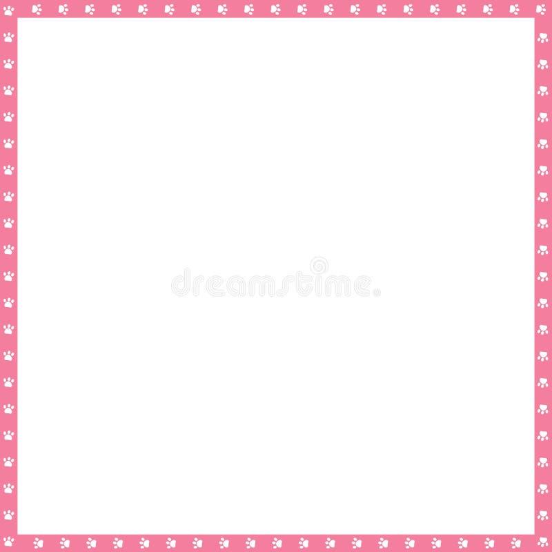 El marco de la casilla blanca rosada y del vector hecho de las impresiones animales de la pata copia el espacio ilustración del vector