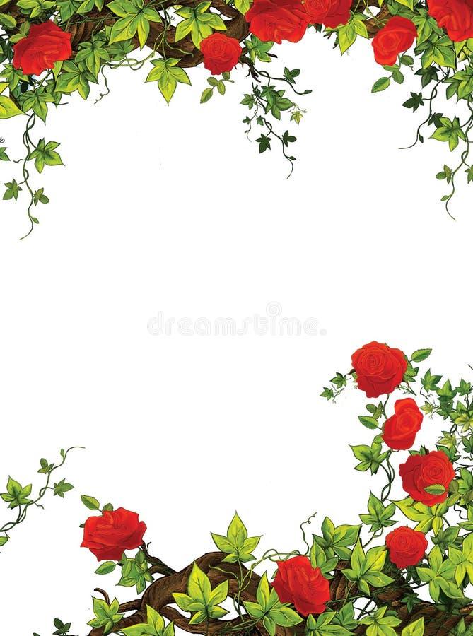 El marco de la rosa - frontera - plantilla - con las rosas - tarjetas del día de San Valentín - cuentos de hadas - ejemplo para lo stock de ilustración
