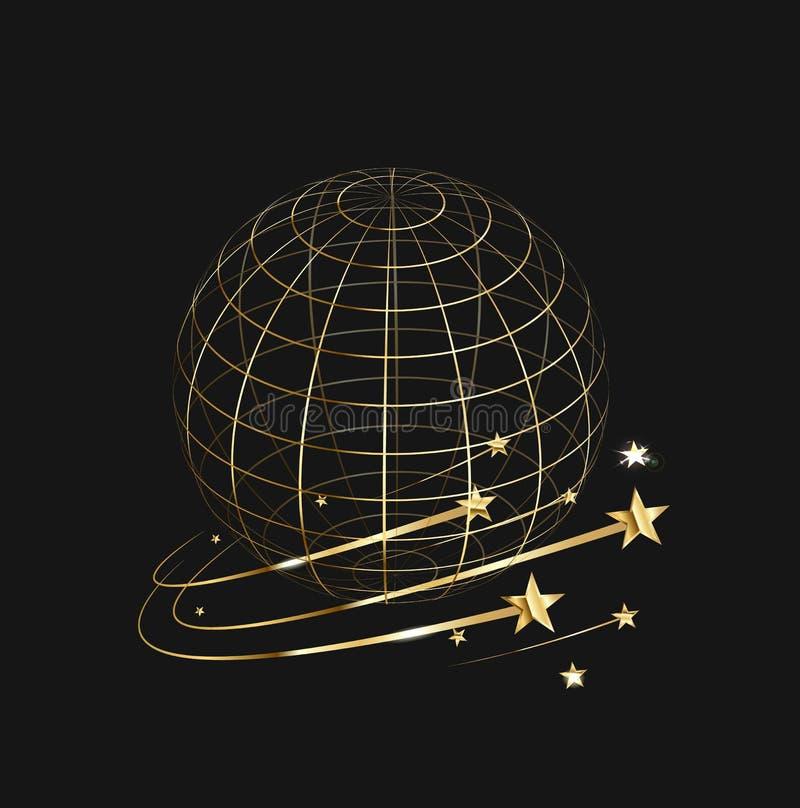 El marco de la tierra en un fondo negro, estrellas del oro ilustración del vector