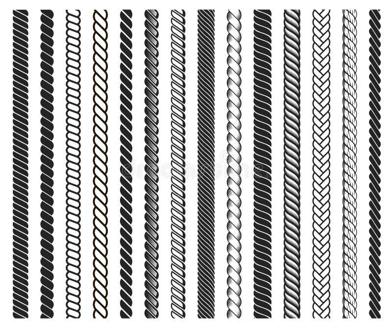 El marco de los cepillos de la cuerda, línea negra decorativa fijó ilustración del vector