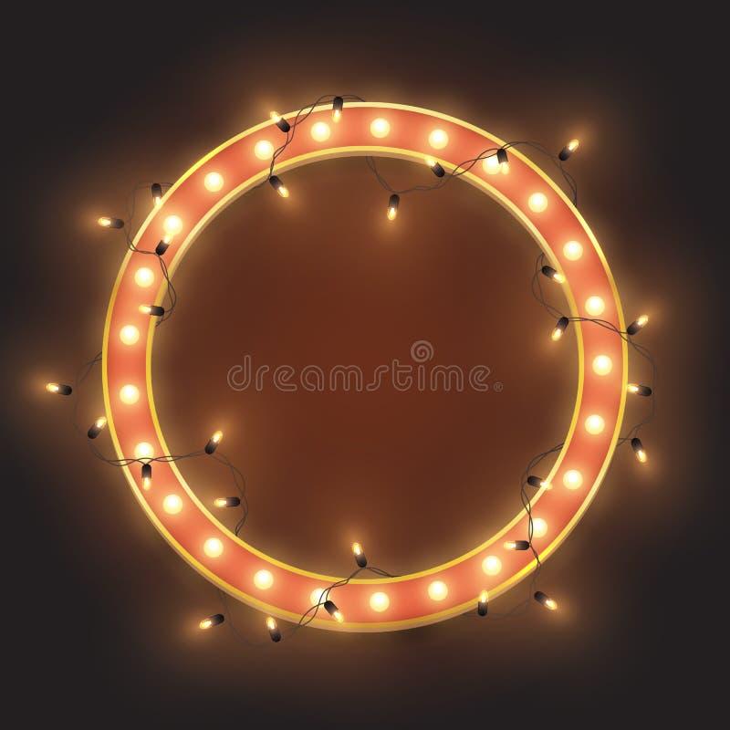 El marco de ne?n retro rojo del c?rculo, llev? las luces brillantes guirnalda, ejemplo del vector stock de ilustración