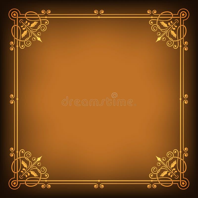 El marco de oro cuadrado adornado en oscuridad saturó el fondo stock de ilustración