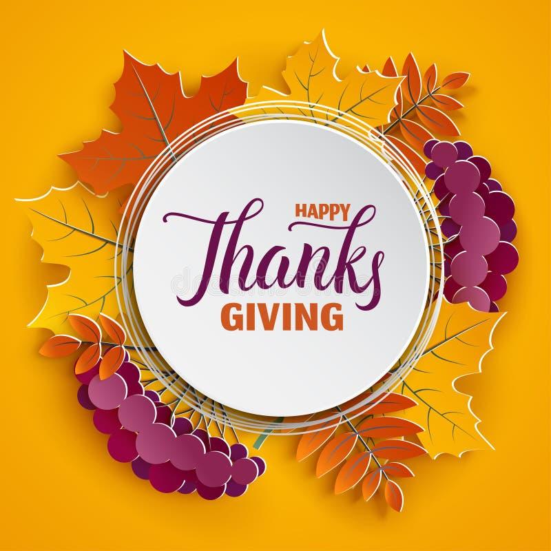 El marco de papel floral del otoño y el árbol colorido de papel se va en fondo amarillo Diseño otoñal para el cartel de la tempor libre illustration