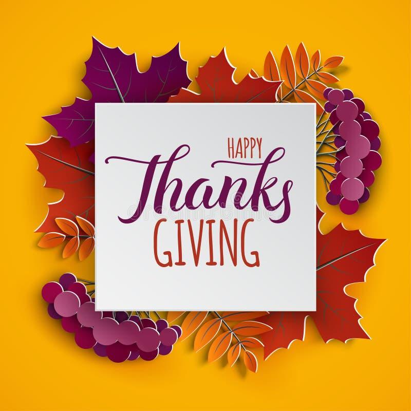 El marco de papel floral del otoño y el árbol colorido de papel se va en grito ilustración del vector