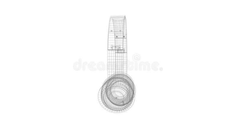 El Marco Del Alambre De Gray Headphones Aislado En Un Fondo Blanco ...