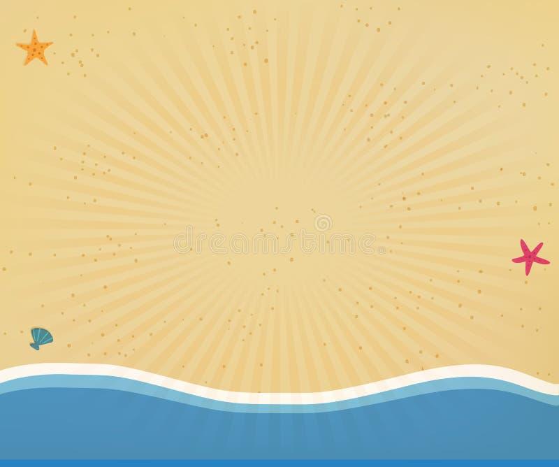 El marco del fondo o de la frontera de la playa con el sol radiante irradia libre illustration
