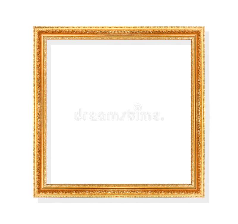 El marco del oro viejo con las hojas forma los modelos aislados en la trayectoria blanca del fondo y de recortes foto de archivo libre de regalías