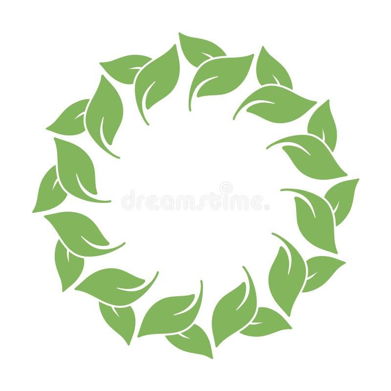 El marco del vector con las hojas circunda ilustración del vector