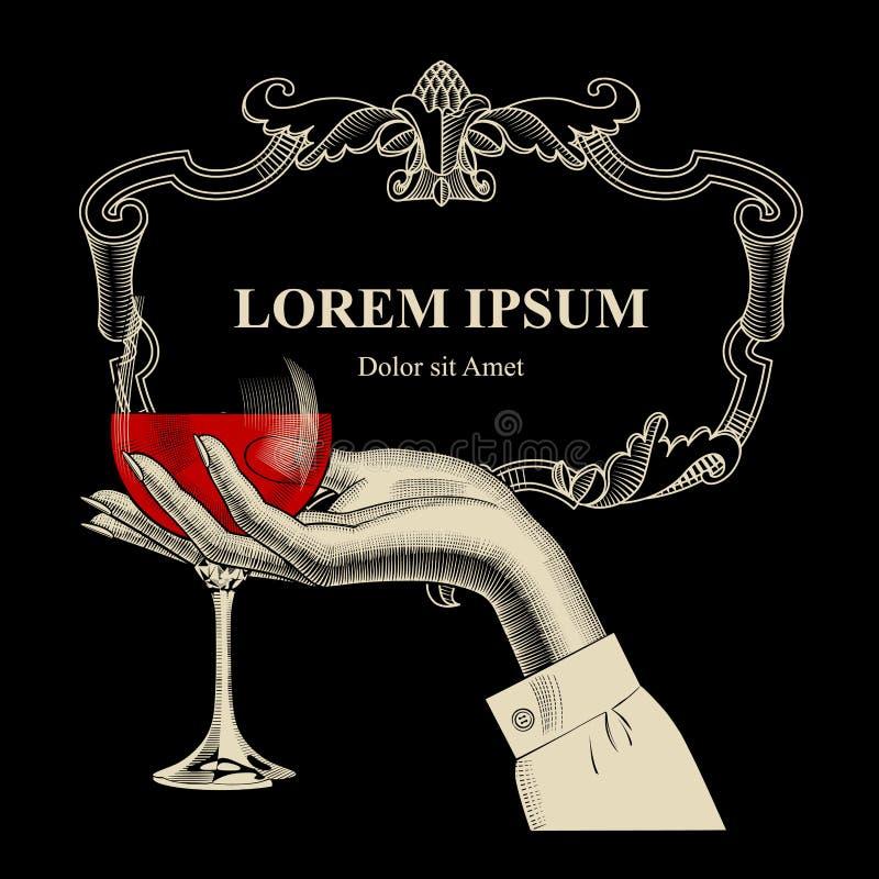 El marco del vintage y el ` s de la mujer dan sostener la copa de vino ilustración del vector