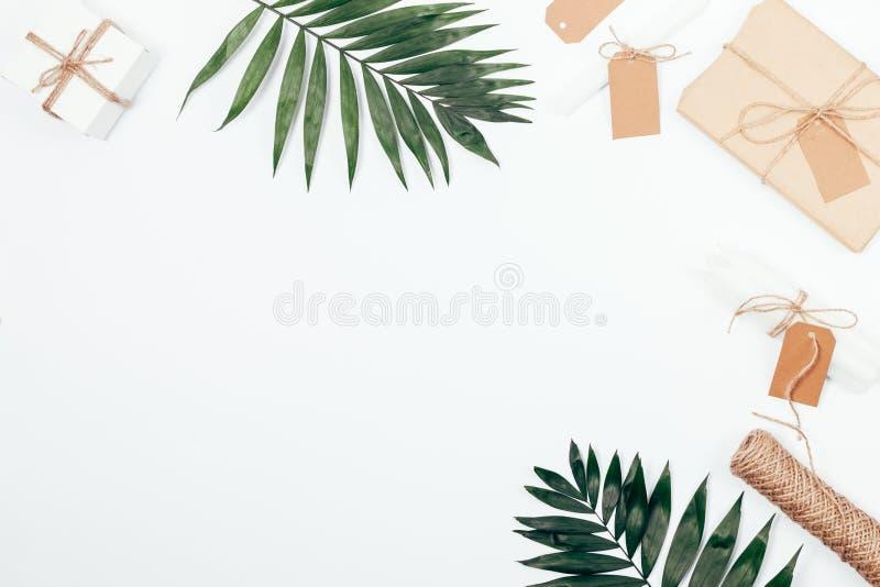 El marco elegante de la frontera de la palma ramifica, los regalos envueltos libre illustration