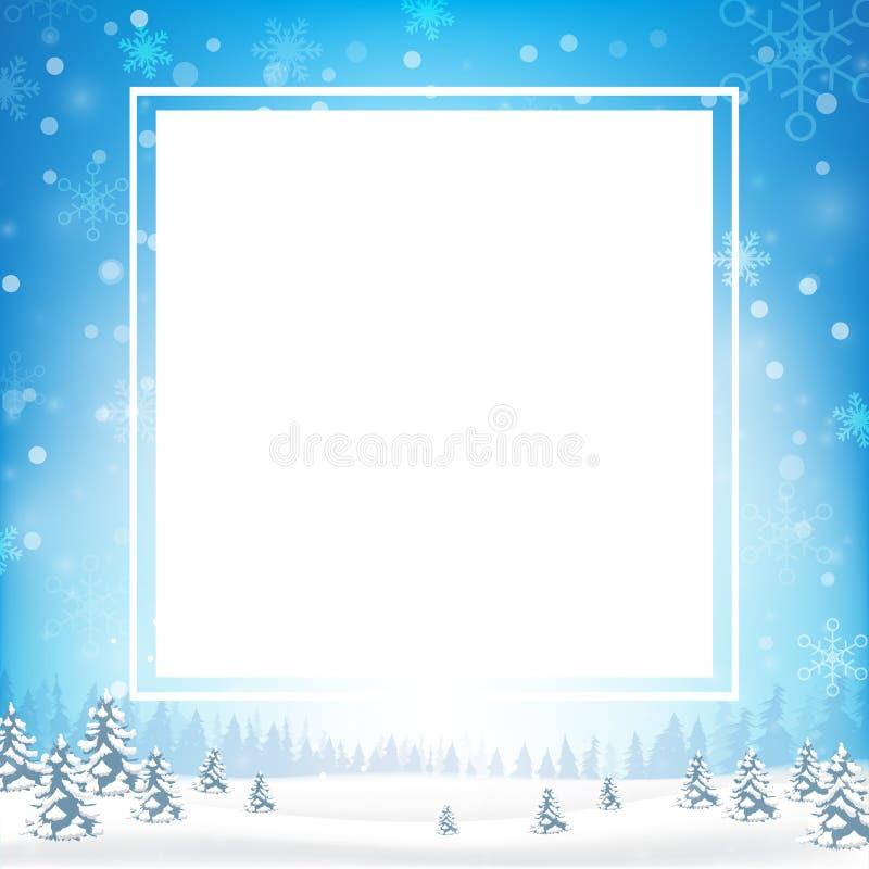 El marco en blanco del rectángulo con el espacio de la copia y la escama de la nieve del invierno caen ilustración del vector