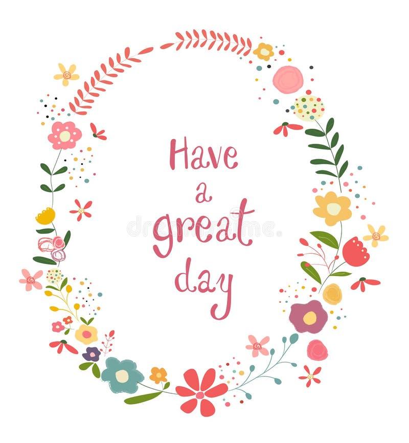 El marco en colores pastel de la flor con tiene palabras grandes de un día libre illustration