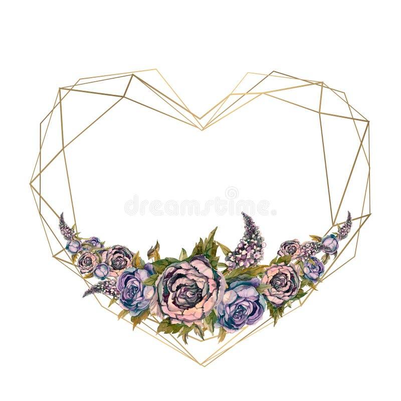El marco es el coraz?n de las flores de la acuarela libre illustration