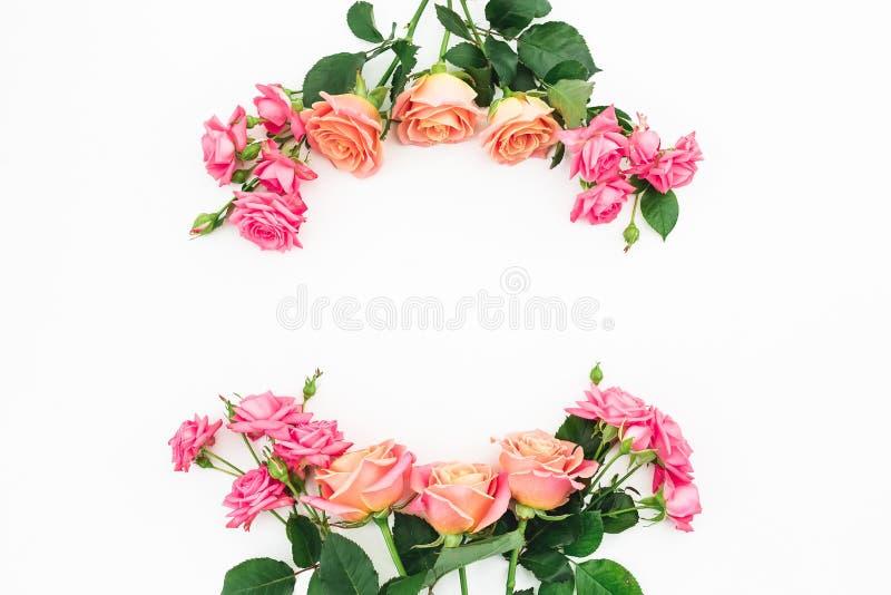El marco floral de rosas, de brotes y del verde se va en el fondo blanco Endecha plana, visión superior Fondo del resorte ilustración del vector
