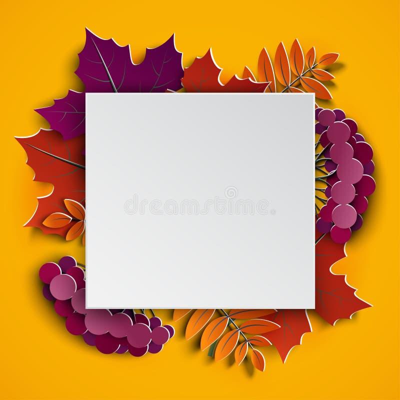 El marco floral del corte del papel del otoño y el árbol colorido de papel se va en fondo amarillo Diseño otoñal para la bandera  libre illustration