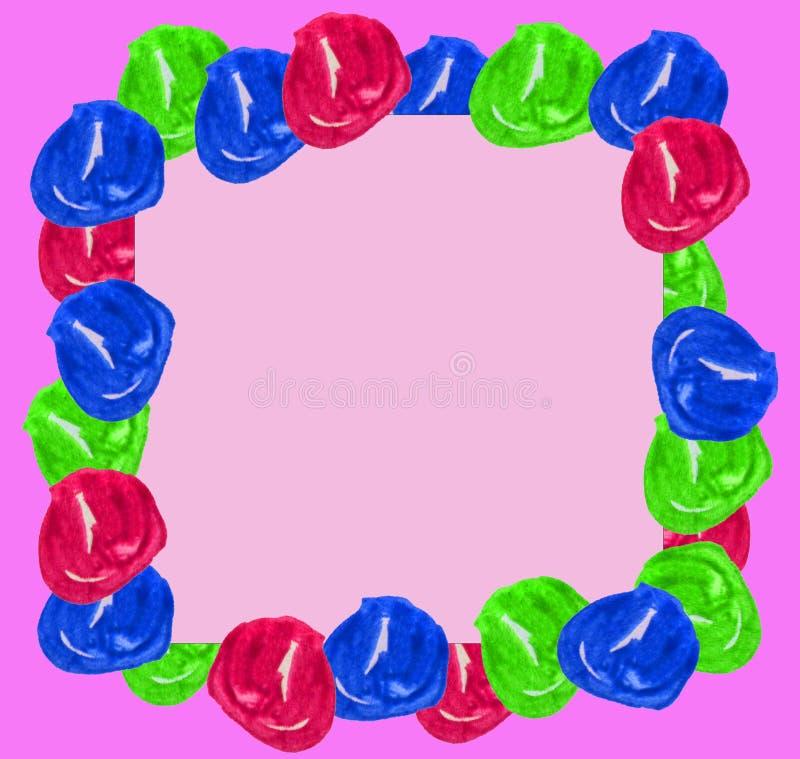 El marco lindo de la acuarela fijó bolas exhaustas de la mano colorida aisladas alrededor de puntos en el fondo rosado para el di ilustración del vector