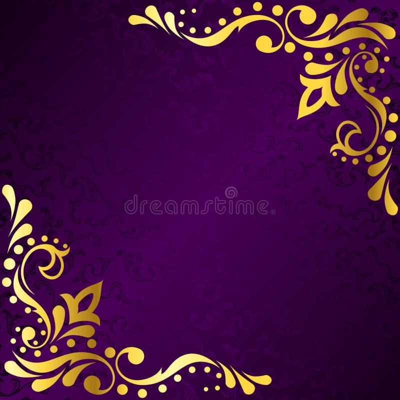 El marco púrpura con la sari del oro inspiró afiligranado stock de ilustración