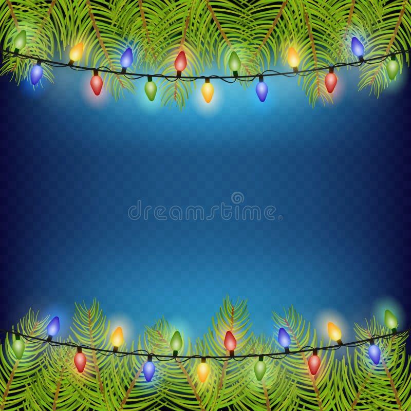 El marco realista de la rama del abeto del árbol de navidad para adorna el ejemplo del vector EPS 10 libre illustration