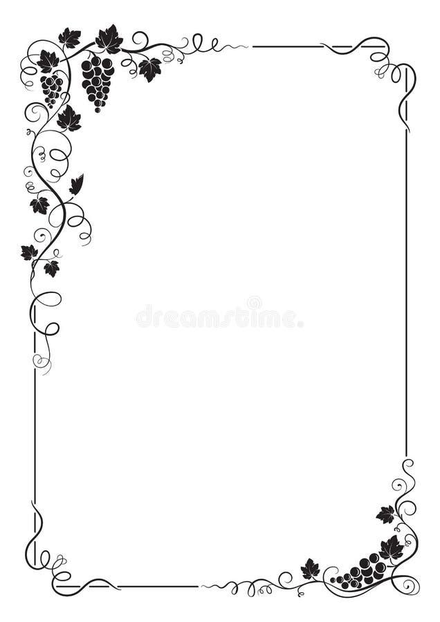 El marco rectangular decorativo con el manojo de uvas, uva se va, las vides, remolinos imágenes de archivo libres de regalías