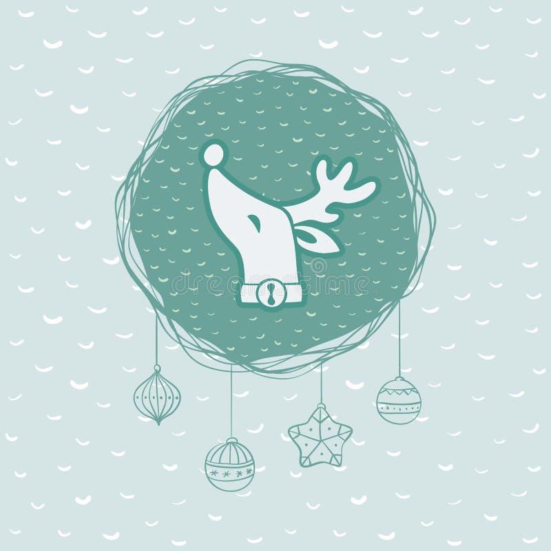 El marco redondo de la Navidad y del Año Nuevo con los ciervos dirige símbolo Tarjeta de felicitación stock de ilustración