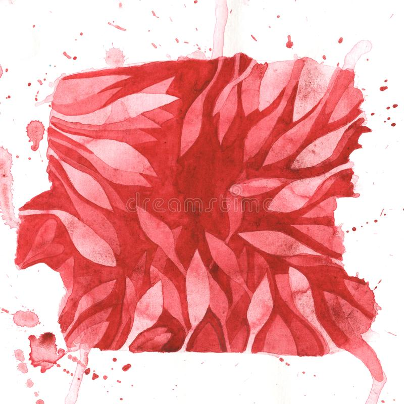 El marco rojo de las hojas con salpica - la pintura negativa monocromática del espacio de la acuarela Plantilla del dibujo de la  stock de ilustración