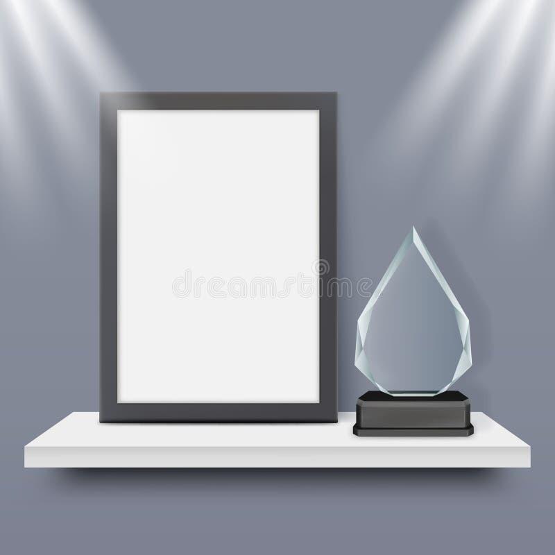 El marco y el vidrio negros en blanco conceden a vector del trofeo el ejemplo realista ilustración del vector