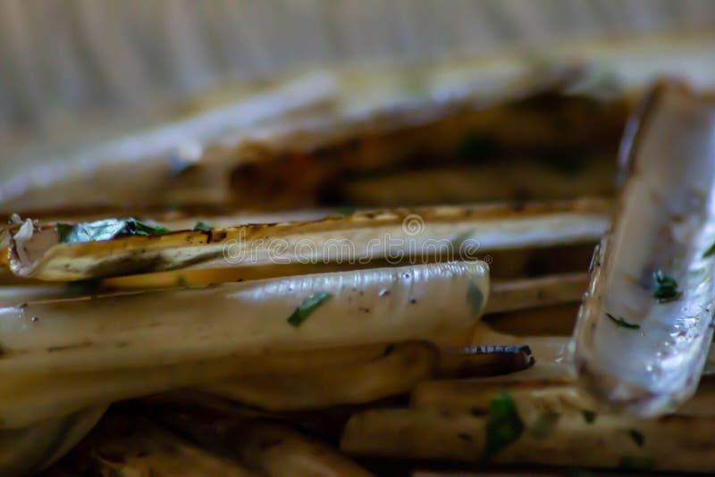 El marginatus de Solen, conocido comúnmente como cannolicchio o cappalunga, es un molusco bivalvular en la familia del Solenidae fotografía de archivo libre de regalías